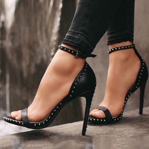 back leather studded high heel shoes - Boujee Boutique Incorporated