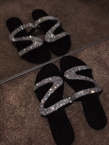 2020 New Summer Women Slippers Fashion Bright Diamond Crystal Beach Slipper Flat Shoes Women Slides Flip Flops Outdoor Sandals - Boujee Boutique Incorporated