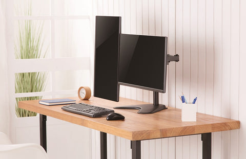 "Amer Mounts 2EZSTAND | Dual Articulating Monitor Desk Mount | Supports 17"" - 32"" Monitors"