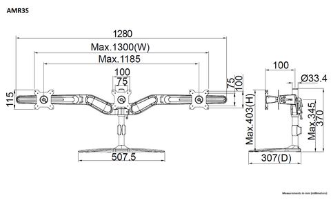 Fully Dimensioned Triple Monitor Mount Diagram (front and side view)