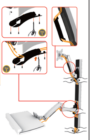 Sit-Stand Combo Workstation Wall Mount System - AMR1AWSV1