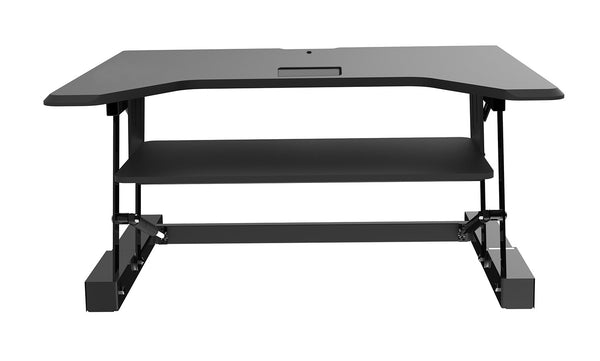 Sit-Stand Riser Desk Workstation with Keyboard Tray - Black Finish - EZriser36