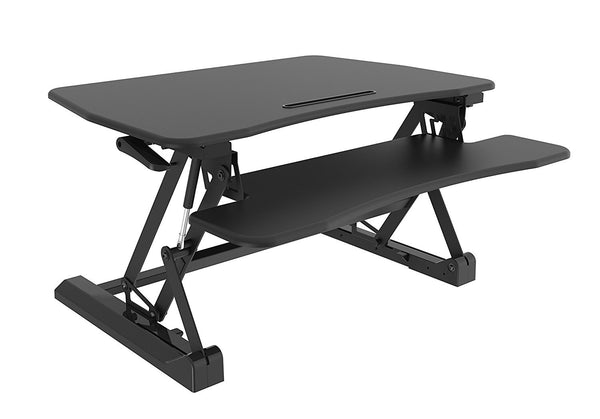 Straight Up and Down Sit/Stand Desk with Keyboard/Mouse Deck (2 Tier) - Black Finish - EZriserPro