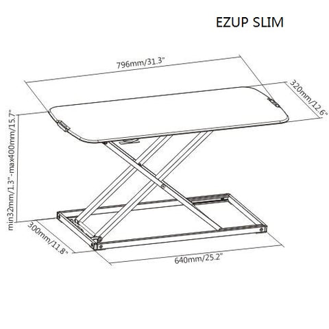"EZUP SLIM | Height Adjustable Sit/Stand Slim Desk Surface Riser, 32"" wide"