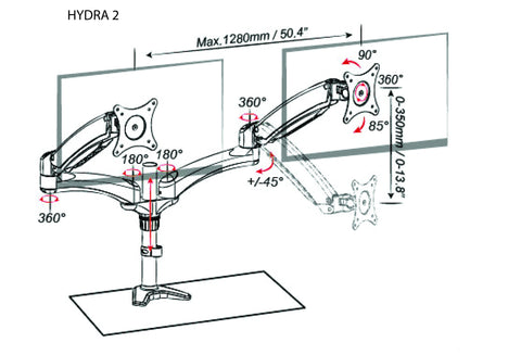 Dual Monitor Mount with Articulating Arms - HYDRA 2