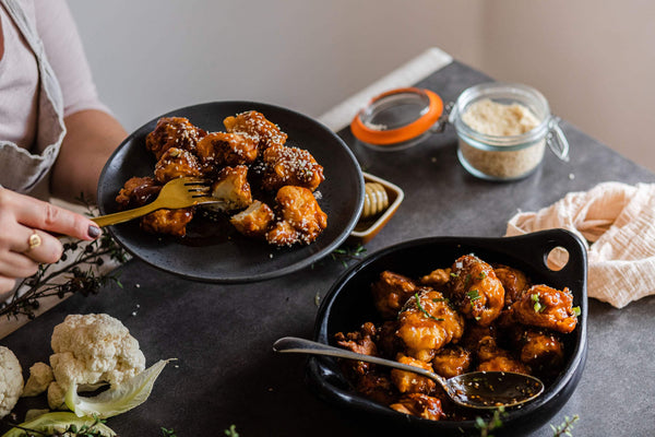 Tso Cauliflower in sticky honey sauce