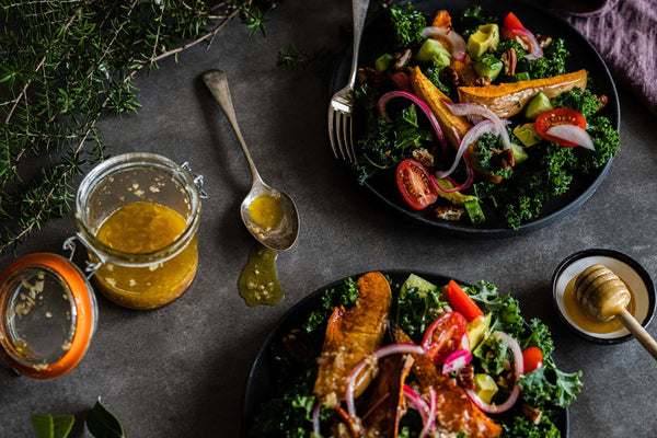Salad with honey shallot dressing