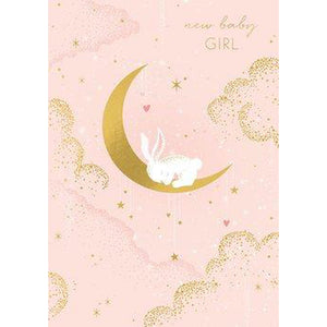New Baby Girl Card... (Bunny on Moon)-Nook & Cranny Gift Store-2019 National Gift Store Of The Year-Ireland-Gift Shop