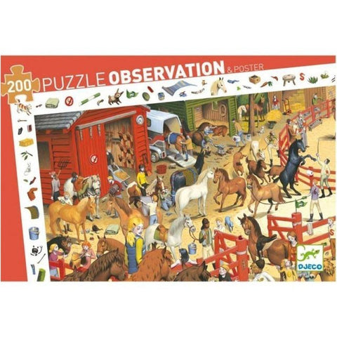 200 Piece Horse Riding Puzzle & Poster by Djeco-Nook and Cranny - 2019 REI National Gift Store of the Year