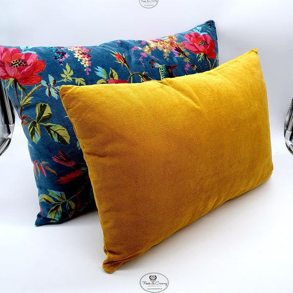 Plush Mustard Velveteen Cushion-Nook & Cranny Gift Store-2019 National Gift Store Of The Year-Ireland-Gift Shop