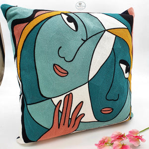 Modernist FACES Cushion - 45cms-Nook & Cranny Gift Store-2019 National Gift Store Of The Year-Ireland-Gift Shop