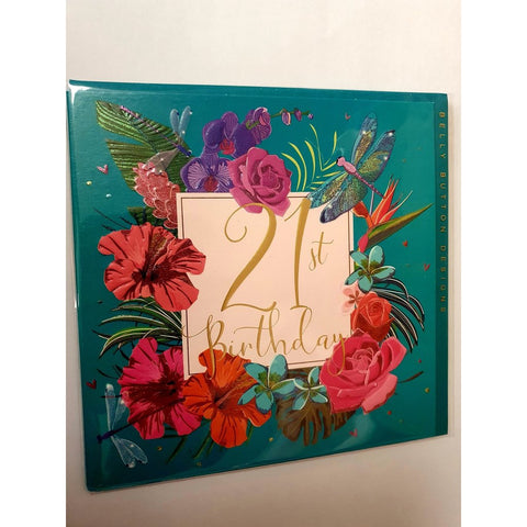 21st Birthday Flowers - Card-Nook & Cranny Gift Store-2019 National Gift Store Of The Year-Ireland-Gift Shop