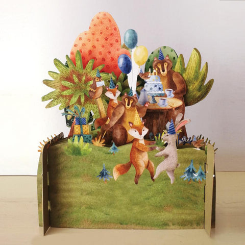3D Pop Up Card - Woodland animals celebrating-Nook & Cranny Gift Store-2019 National Gift Store Of The Year-Ireland-Gift Shop