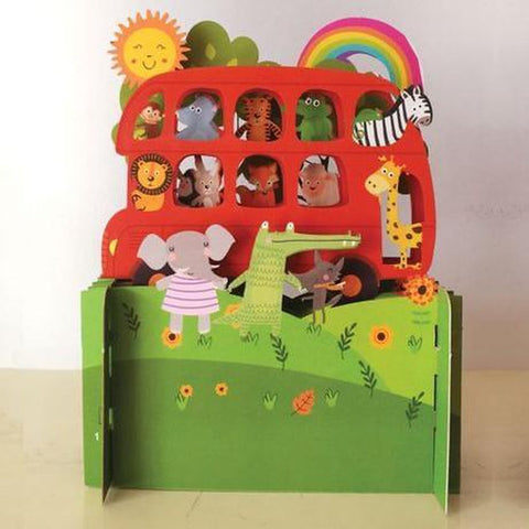 3D Pop Up Card - Animal Bus-Nook & Cranny Gift Store-2019 National Gift Store Of The Year-Ireland-Gift Shop
