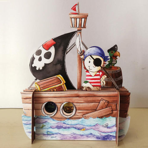 3D Pop Up Card - Pirate Ship-Nook & Cranny Gift Store-2019 National Gift Store Of The Year-Ireland-Gift Shop