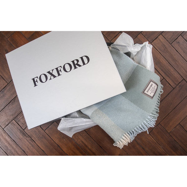Foxford Cashmere Throw - Sage/Pale Blue-Nook & Cranny Gift Store-2019 National Gift Store Of The Year-Ireland-Gift Shop