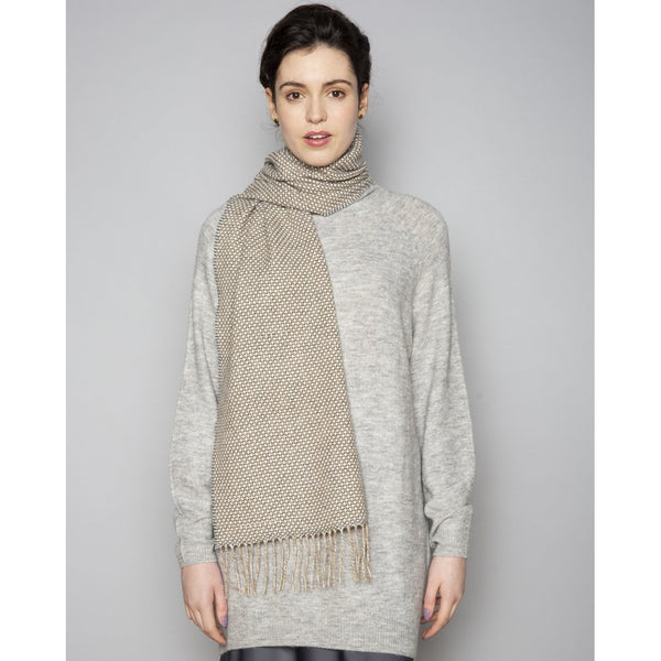Foxford 100% Lambswool Scarf - Beige Birdseye-Nook & Cranny Gift Store-2019 National Gift Store Of The Year-Ireland-Gift Shop
