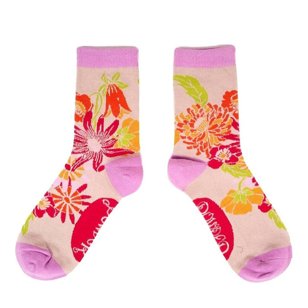Retro Meadow Bamboo Ankle Socks - Cream-Nook & Cranny Gift Store-2019 National Gift Store Of The Year-Ireland-Gift Shop
