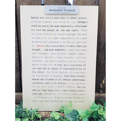 A4 Wise Words Wooden Plaque - Babies-Nook and Cranny - 2019 REI National Gift Store of the Year