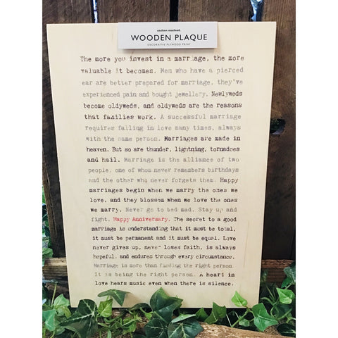 A4 Wise Words Wooden Plaque - Happy Anniversary-Nook and Cranny - 2019 REI National Gift Store of the Year