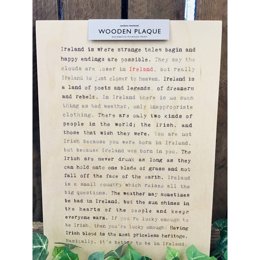 A4 Wise Words Wooden Plaque - Ireland-Nook and Cranny - 2019 REI National Gift Store of the Year