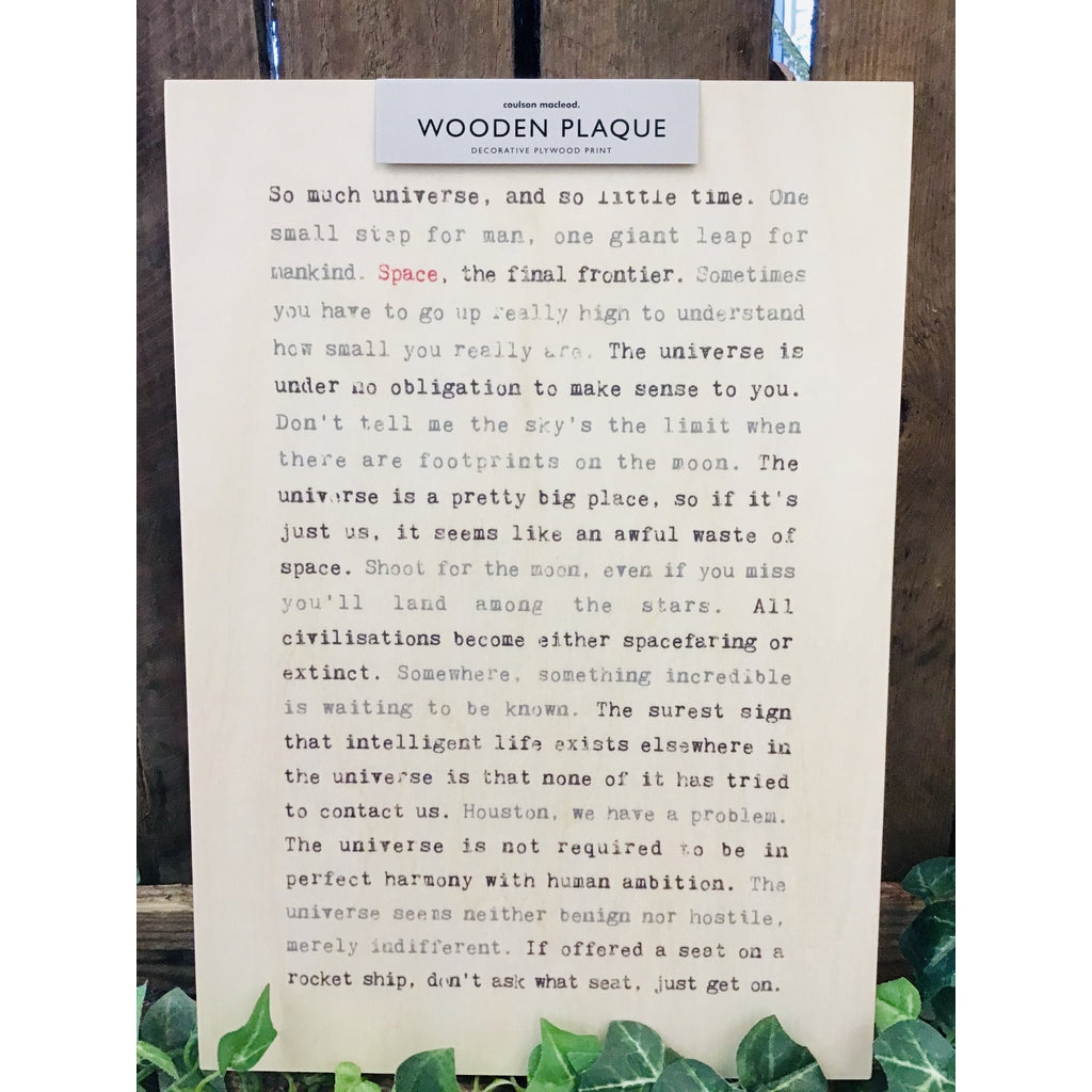A4 Wise Words Wooden Plaque - Space-Nook and Cranny - 2019 REI National Gift Store of the Year
