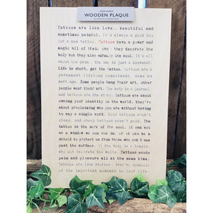 A4 Wise Words Wooden Plaque - Tattoos-Nook and Cranny - 2019 REI National Gift Store of the Year
