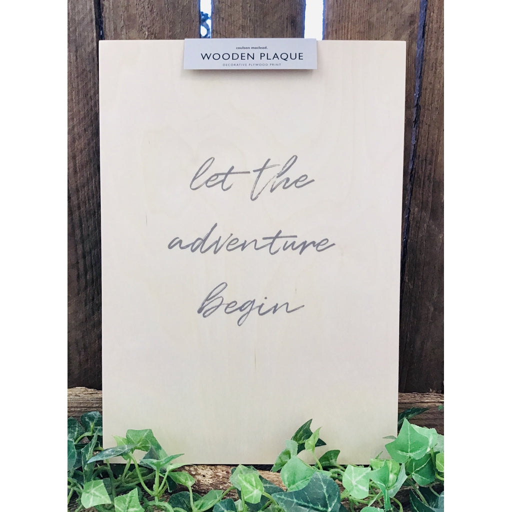 A4 Wooden Plaque - Adventure Begin-Nook and Cranny - 2019 REI National Gift Store of the Year