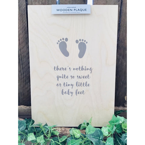 A4 Wooden Plaque - Baby Feet-Nook & Cranny Gift Store-2019 National Gift Store Of The Year-Ireland-Gift Shop