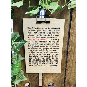 A6 You've Retired wooden plaque-Nook & Cranny Gift Store-2019 National Gift Store Of The Year-Ireland-Gift Shop