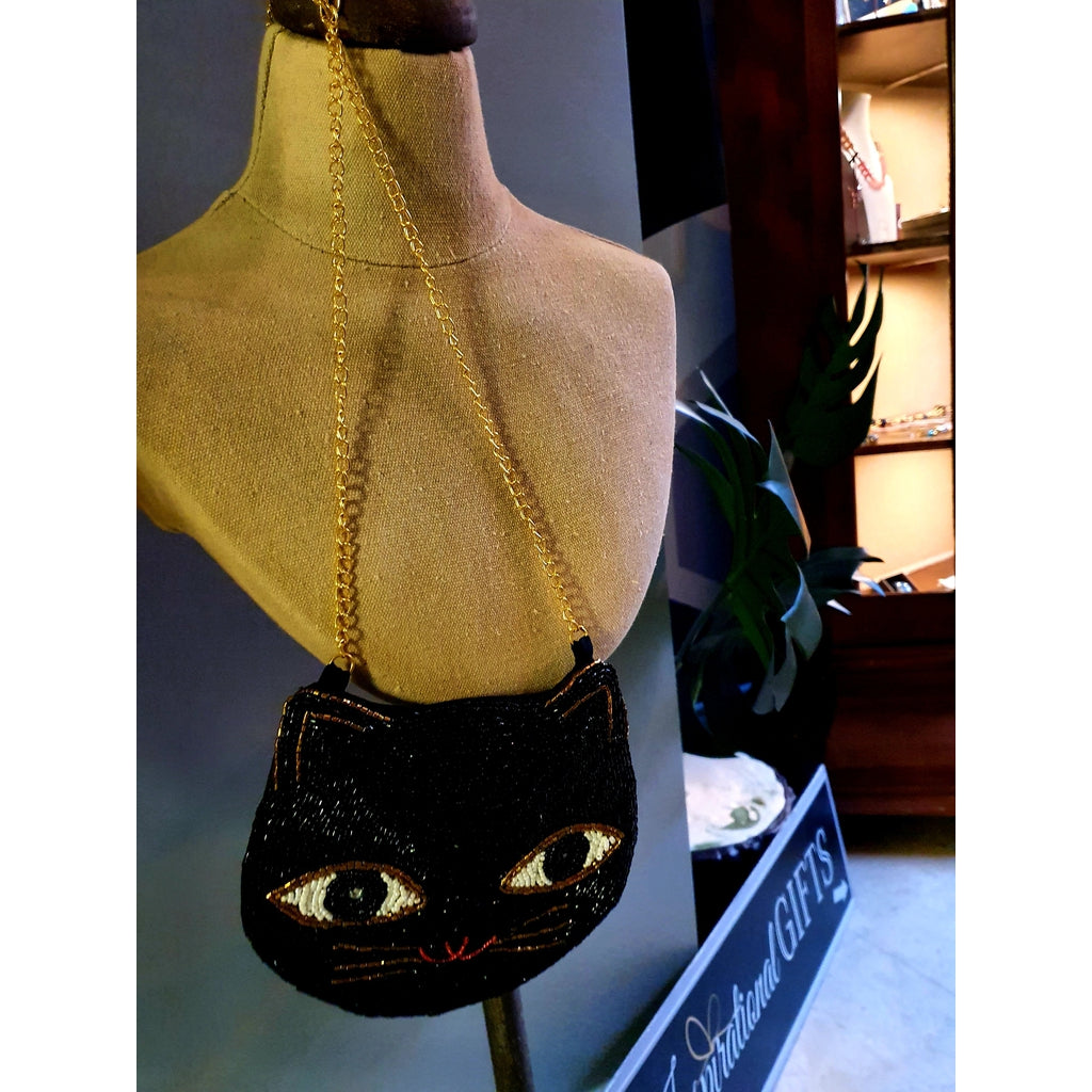 Beaded Bag with chain - Black Cat-Nook and Cranny - 2019 REI National Gift Store of the Year