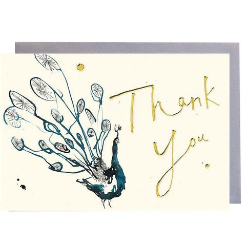 Blue Peacock Thank You - Card-Nook & Cranny Gift Store-2019 National Gift Store Of The Year-Ireland-Gift Shop