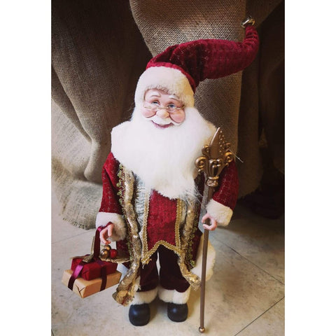 Burgundy and Gold Plush Fabric Santa-Nook & Cranny Gift Store-2019 National Gift Store Of The Year-Ireland-Gift Shop