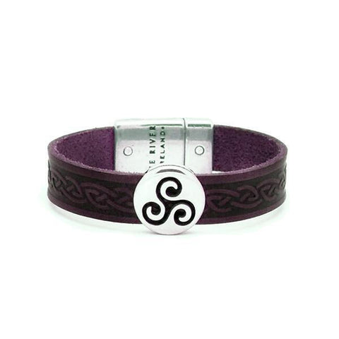 Celtic Leather Cuff - Purple Colour-Nook & Cranny Gift Store-2019 National Gift Store Of The Year-Ireland-Gift Shop