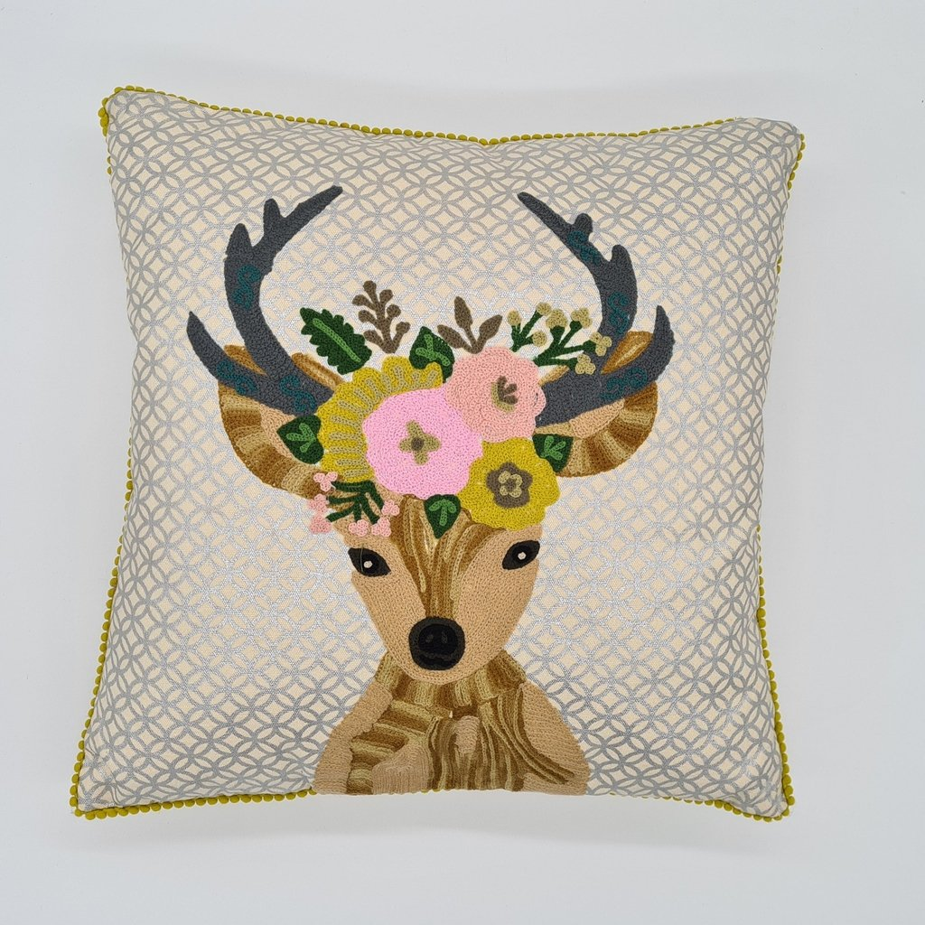 Chic Reindeer Christmas cushion with tassle edge-Nook and Cranny - 2019 REI National Gift Store of the Year