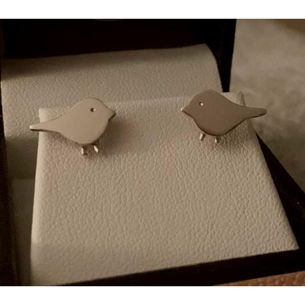 Cute Robin Sterling Silver Stud Earrings - Made in Laois!-Nook and Cranny - 2019 REI National Gift Store of the Year
