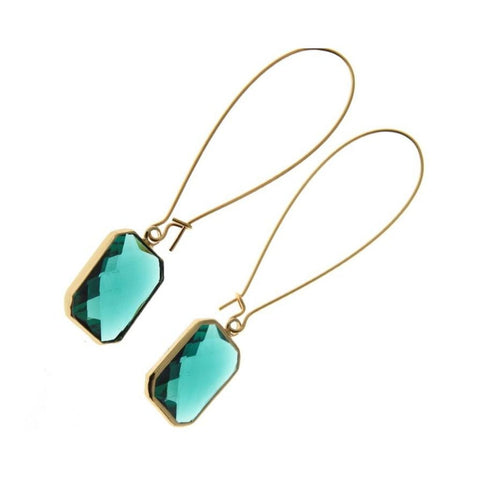 Emerald Deco Drop Earrings - Long-Nook and Cranny - 2019 REI National Gift Store of the Year