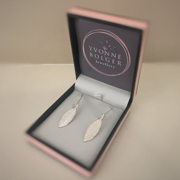 Feathers Appear.... Sterling Silver Drop Earrings - Made in Laois!-Nook & Cranny Gift Store-2019 National Gift Store Of The Year-Ireland-Gift Shop