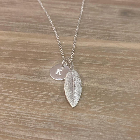 Feathers Appear Sterling Silver Necklace WITH 'INITIAL DISC' - Made in Laois!-Nook and Cranny - 2019 REI National Gift Store of the Year