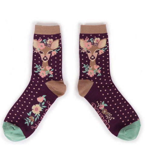 Floral Deer Ankle Socks-Nook and Cranny - 2019 REI National Gift Store of the Year