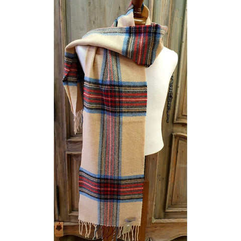 Foxford 100% Lambswool Scarf - Camel, Bottle Green, Blue & Red-Nook and Cranny - 2019 REI National Gift Store of the Year