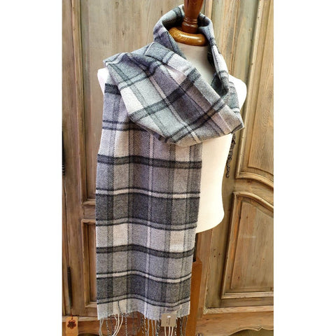 Foxford 100% Lambswool Scarf - Classic Block Pearl Grey & White-Nook and Cranny - 2019 REI National Gift Store of the Year