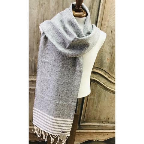 Foxford 100% Lambswool Scarf - Grey & Uniform White Stripe-Nook and Cranny - 2019 REI National Gift Store of the Year