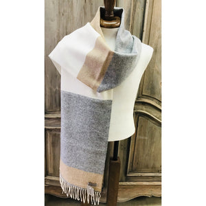 Foxford 100% Lambswool Scarf - Grey, White & Gold-Nook and Cranny - 2019 REI National Gift Store of the Year