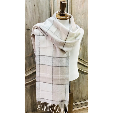 Foxford 100% Lambswool Scarf - White, Blush & Sand-Nook and Cranny - 2019 REI National Gift Store of the Year