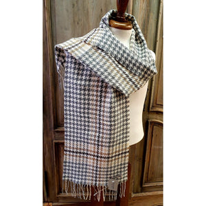 Foxford 100% Lambswool Scarf - White, Camel & Tan Houndstooth-Nook and Cranny - 2019 REI National Gift Store of the Year