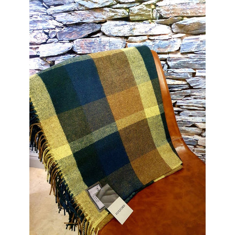 Foxford 100% Lambswool Throw - Green, Camel & Gold-Nook and Cranny - 2019 REI National Gift Store of the Year