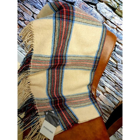 Foxford 100% Lambswool Throw - Sand, Red & Green Tartan-Nook and Cranny - 2019 REI National Gift Store of the Year