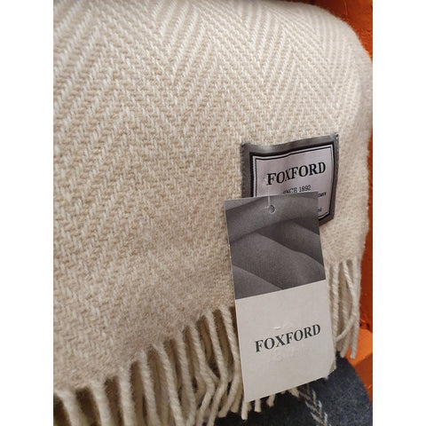 Foxford Cashmere Throw - Beige & White Chevron-Nook and Cranny - 2019 REI National Gift Store of the Year