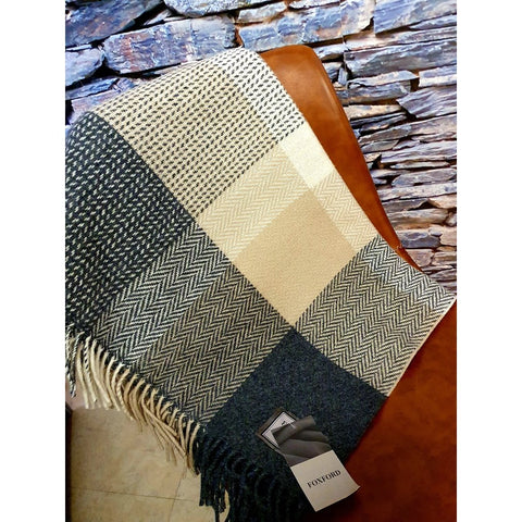 Foxford Cashmere Throw - Grey Bone & Sand-Nook and Cranny - 2019 REI National Gift Store of the Year